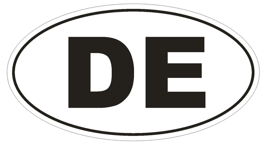 DE Delaware Euro Oval Bumper Sticker or Helmet Sticker D453 Germany Country Code - Winter Park Products