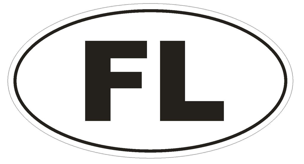 FL Florida Euro Oval Bumper Sticker or Helmet Sticker D455 - Winter Park Products