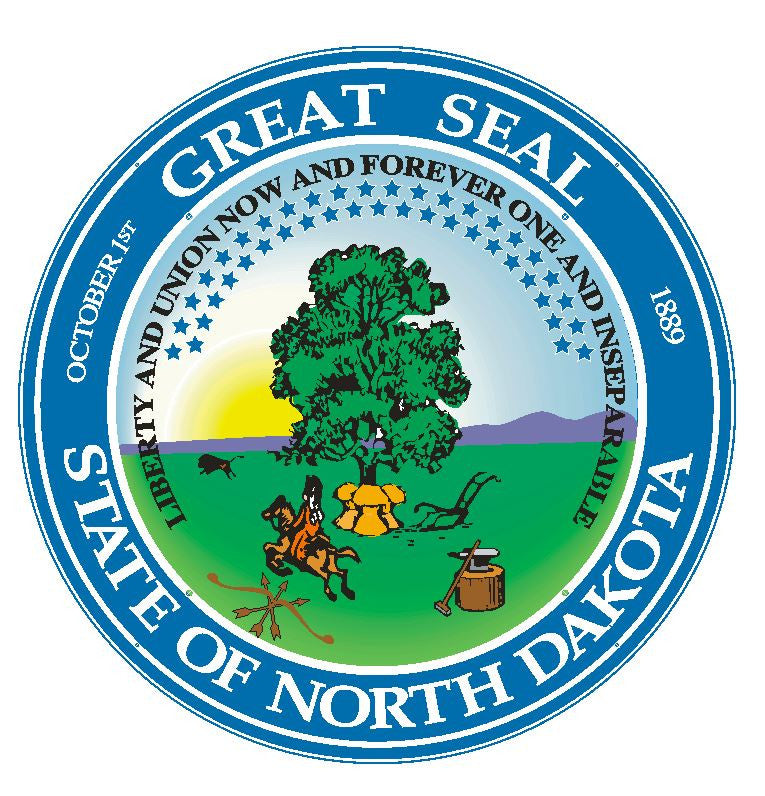 North Dakota State Seal Vinyl Sticker R551 - Winter Park Products
