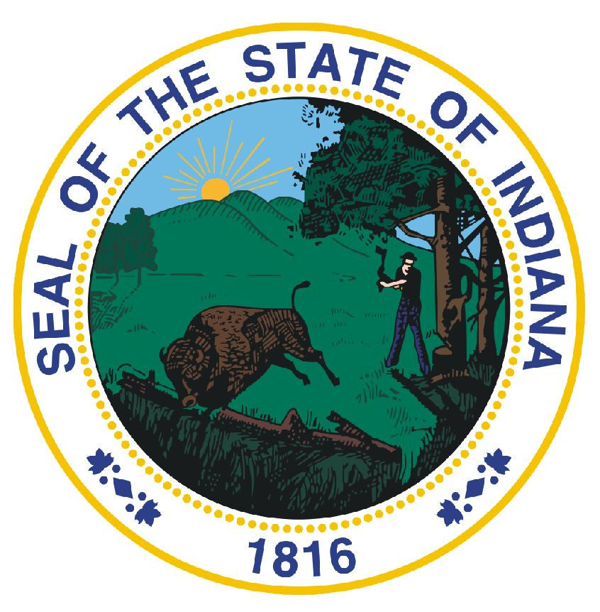 Indiana State Seal Vinyl Sticker R533 - Winter Park Products