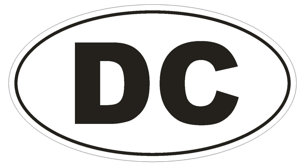 DC District of Columbia Euro Oval Bumper Sticker or Helmet Sticker D454 - Winter Park Products