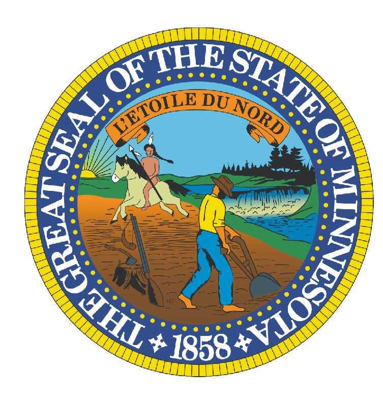 Minnesota State Seal Vinyl Sticker R542 - Winter Park Products