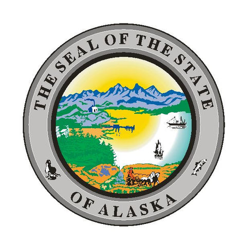 Alaska State Seal Vinyl Sticker R523 - Winter Park Products