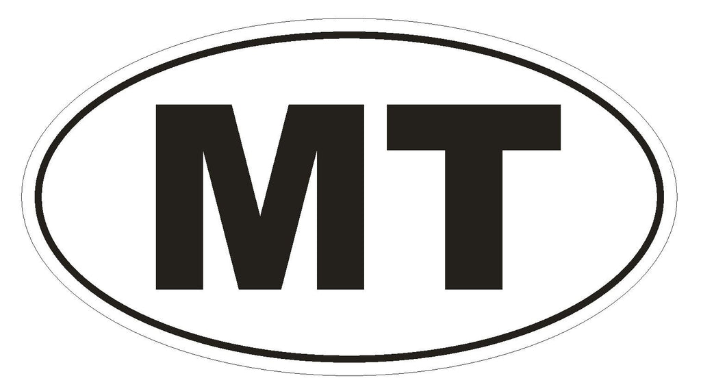 MT Montana Euro Oval Bumper Sticker or Helmet Sticker D472 Malta Country Code - Winter Park Products