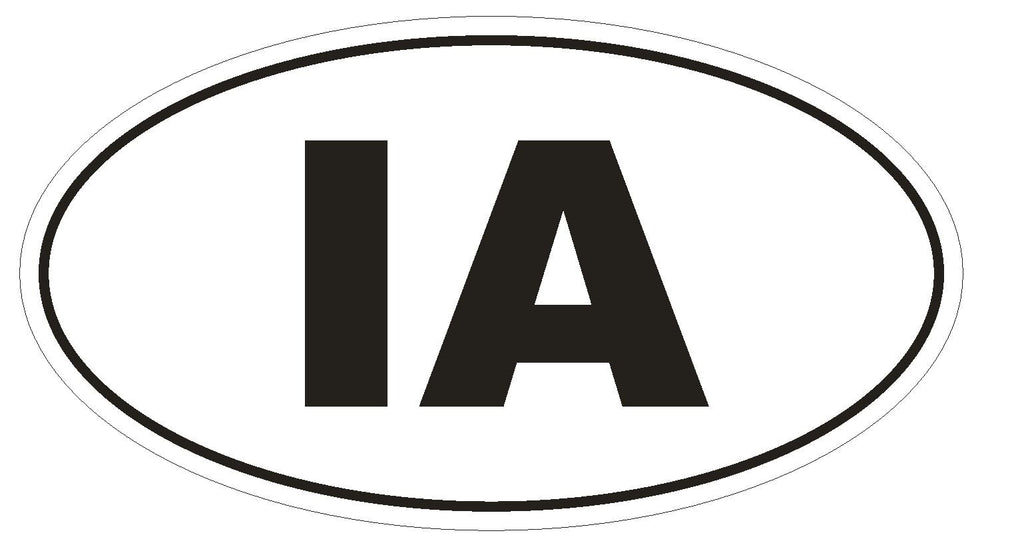 IA Iowa Euro Oval Bumper Sticker or Helmet Sticker D461 - Winter Park Products