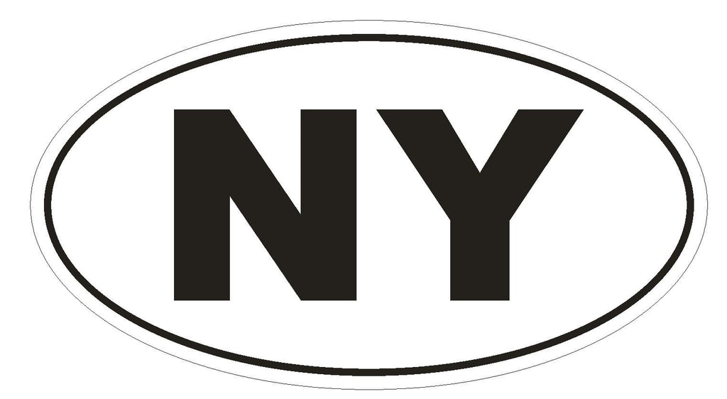 NY New York Euro Oval Bumper Sticker or Helmet Sticker D478 - Winter Park Products