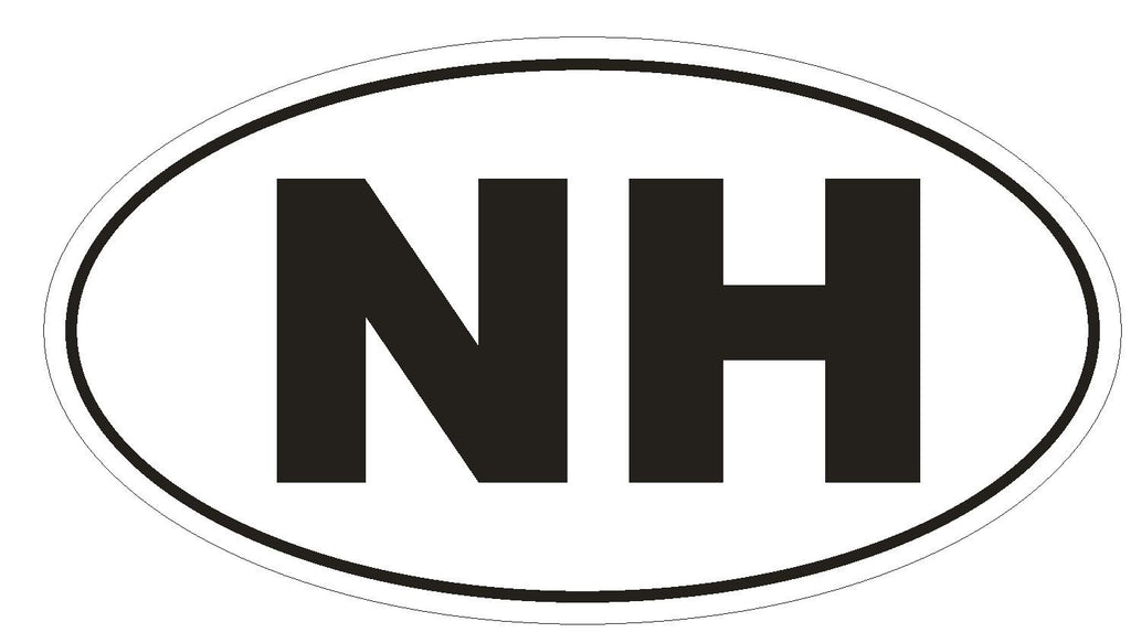 NH New Hampshire Euro Oval Bumper Sticker or Helmet Sticker D475 - Winter Park Products