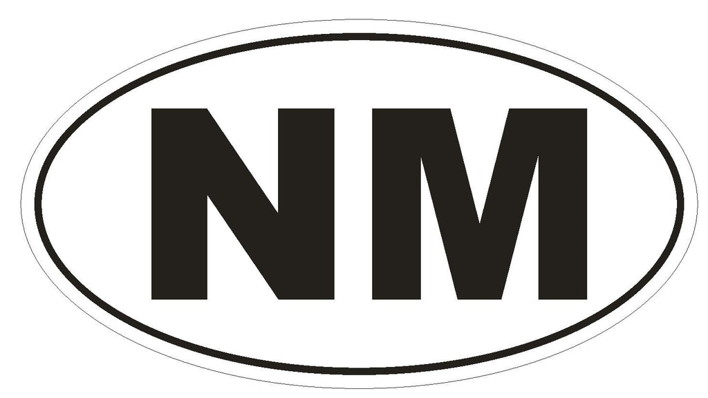 NM New Mexico Euro Oval Bumper Sticker or Helmet Sticker D477 - Winter Park Products
