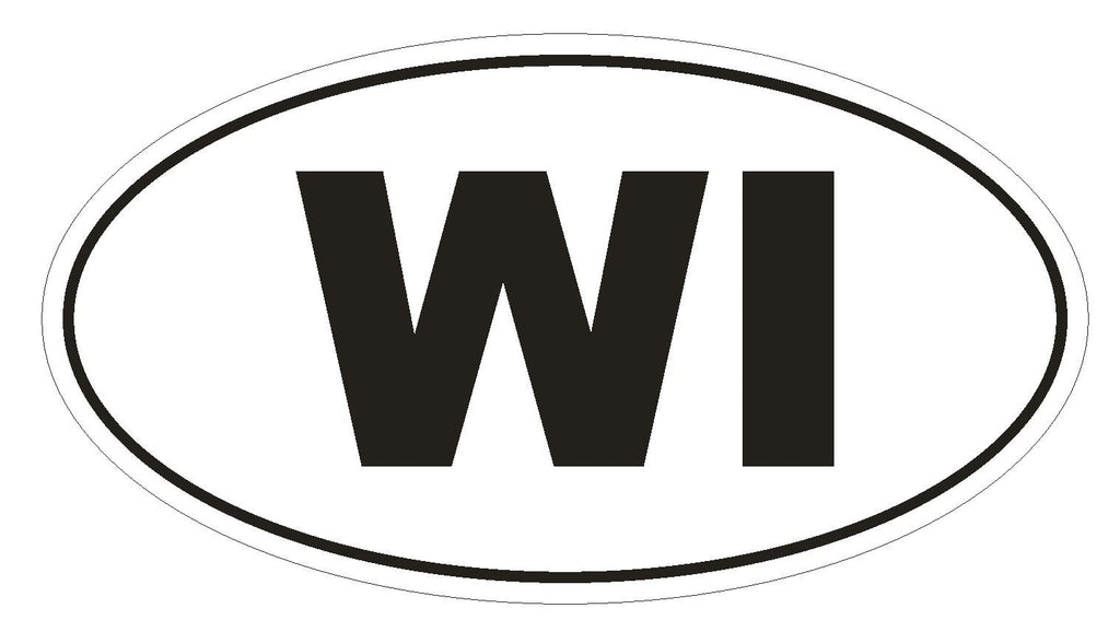 WI Wisconsin Euro Oval Bumper Sticker or Helmet Sticker D495 - Winter Park Products