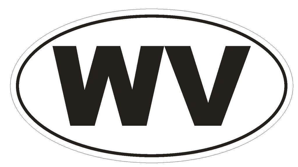WV West Virginia Euro Oval Bumper Sticker or Helmet Sticker D494 - Winter Park Products