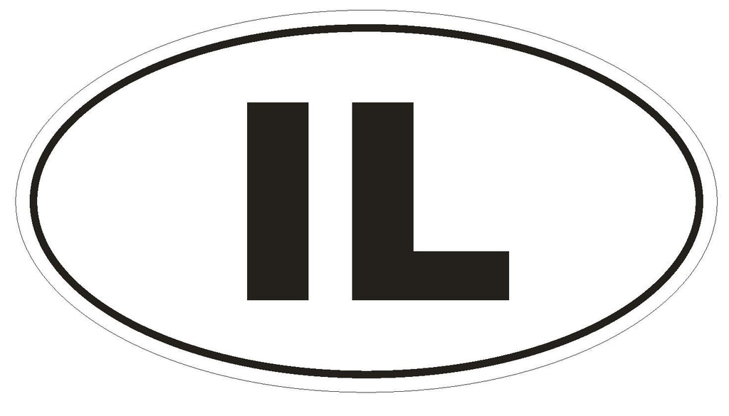 IL Illinois Euro Oval Bumper Sticker or Helmet Sticker D459 Israel Country Code - Winter Park Products