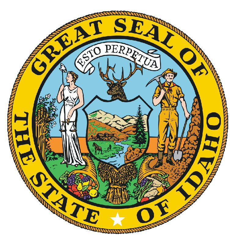 Idaho State Seal Vinyl Sticker R531 - Winter Park Products