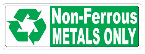Recycle Non Ferrous Metal Only Sticker Decal D3720