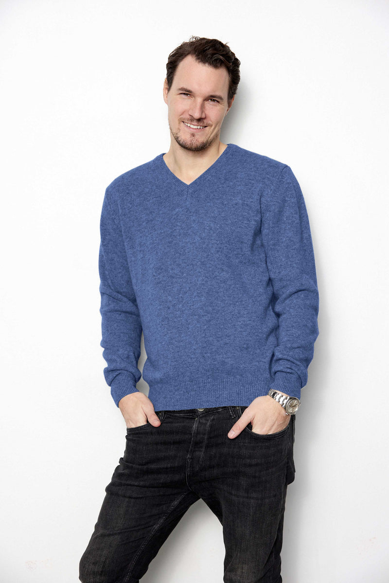 Teak V-neck - Menswear recycled knit