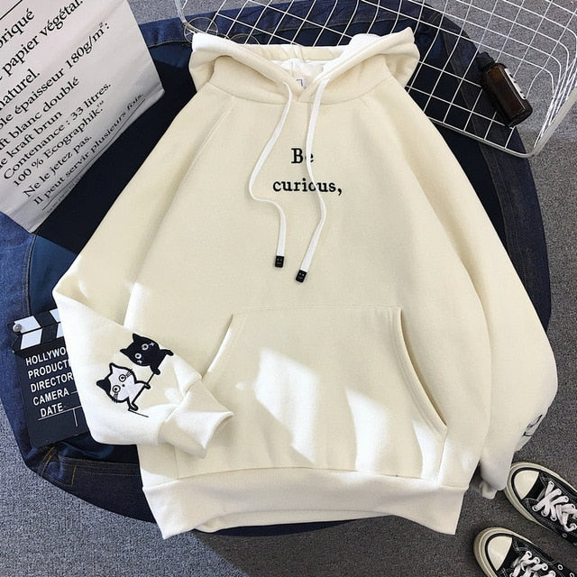 "Oversized ""Be Curious"" Cat Hoodie (40% OFF) - Pawsitive Products"