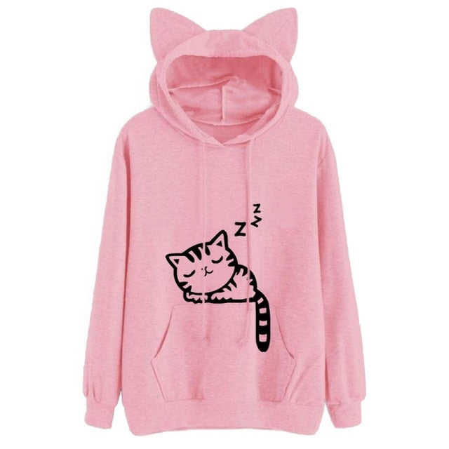 Sleepy Cat Long Sleeved Hooded Sweatshirt (40% OFF) - Pawsitive Products