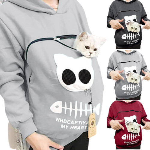 Cat Carrier, Kangaroo Style, Hooded Sweatshirt (50% OFF) - Pawsitive Products