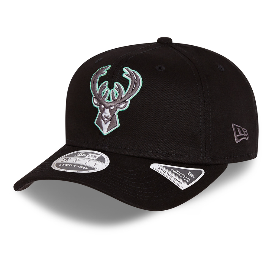 Milwaukee Bucks 9Fifty Stretch Snap Neon Pop Outline Black Cap