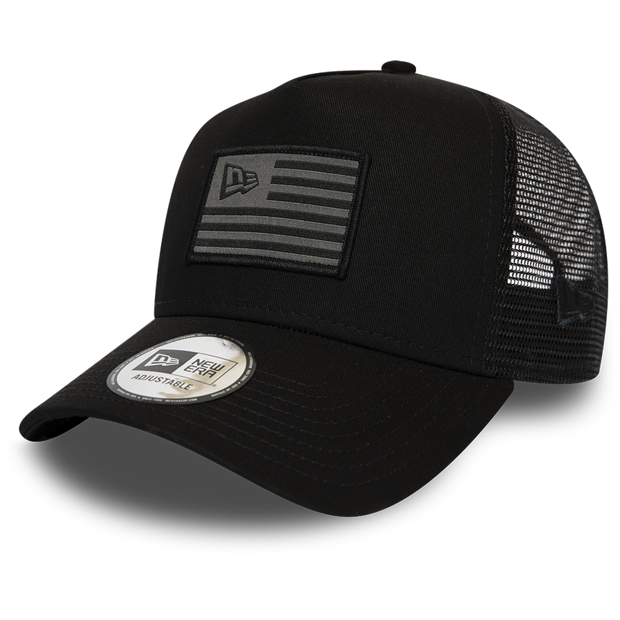 New Era Trucker NE Flag Black/Grey Cap