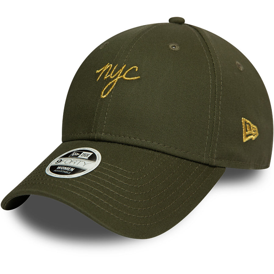 New Era 9Forty Womens NYC Script Olive/Gold Cap