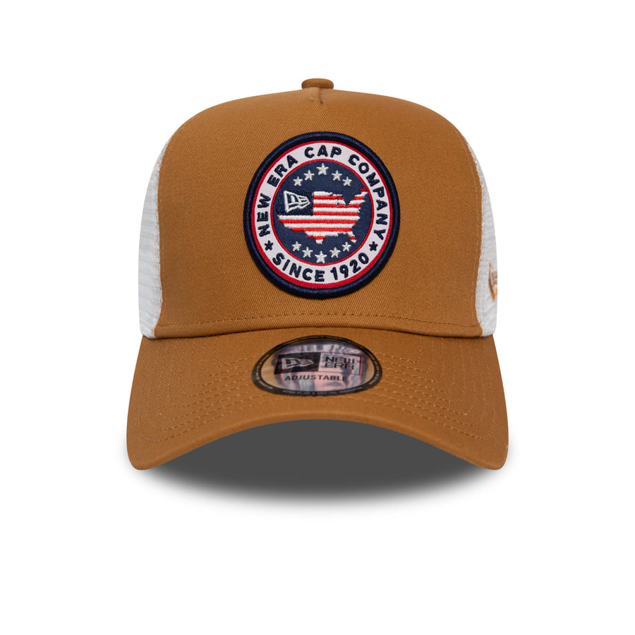 New Era Trucker USA Patch Camel Cap