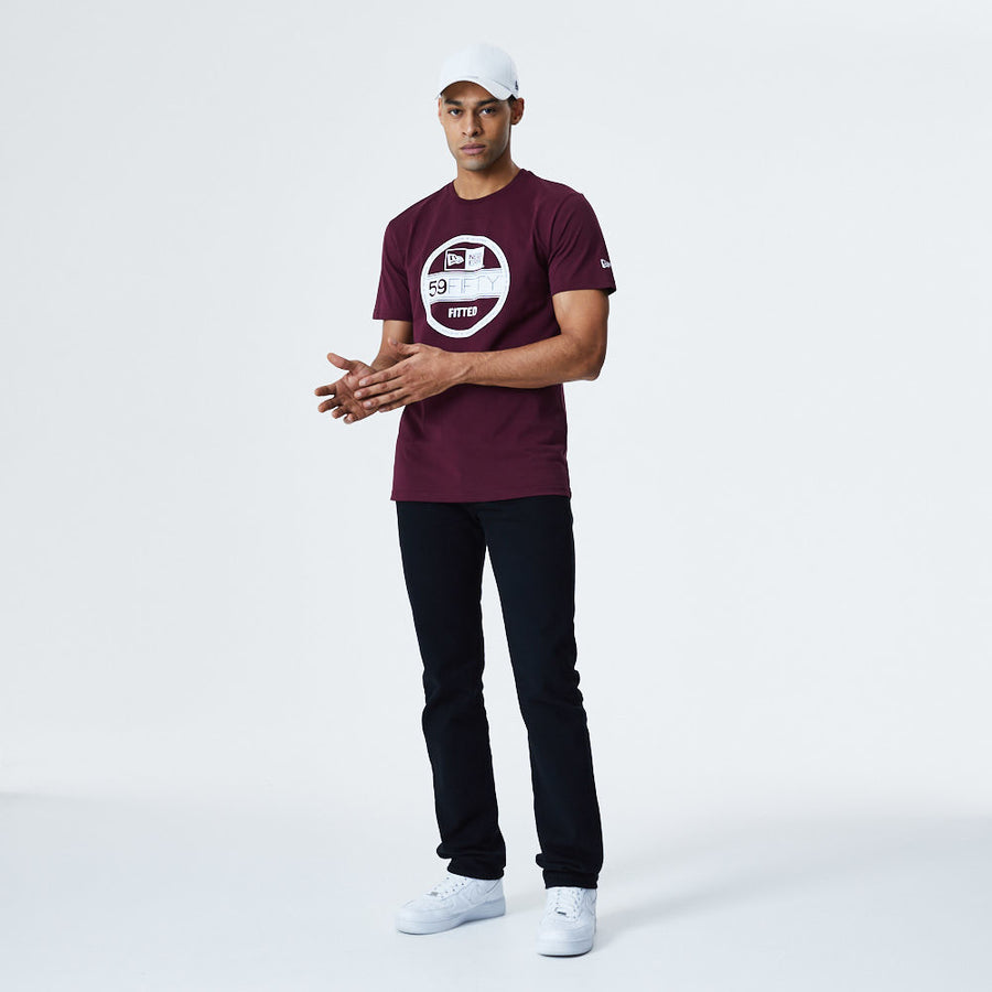 New Era Essential Visor Sticker Maroon Tee