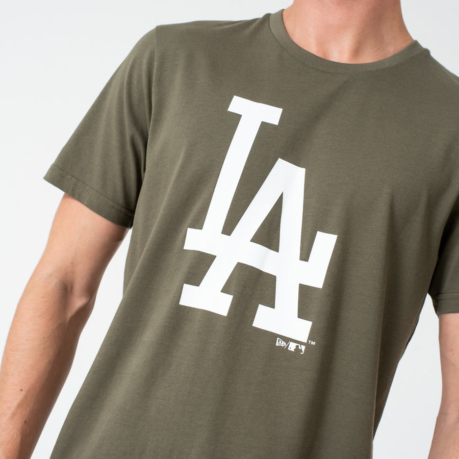 Los Angeles Dodgers MLB Seasonal Team Logo Olive/White Tee
