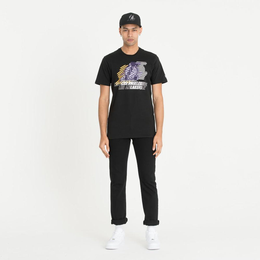 Los Angeles Lakers NBA Logo Repeat Black Tee