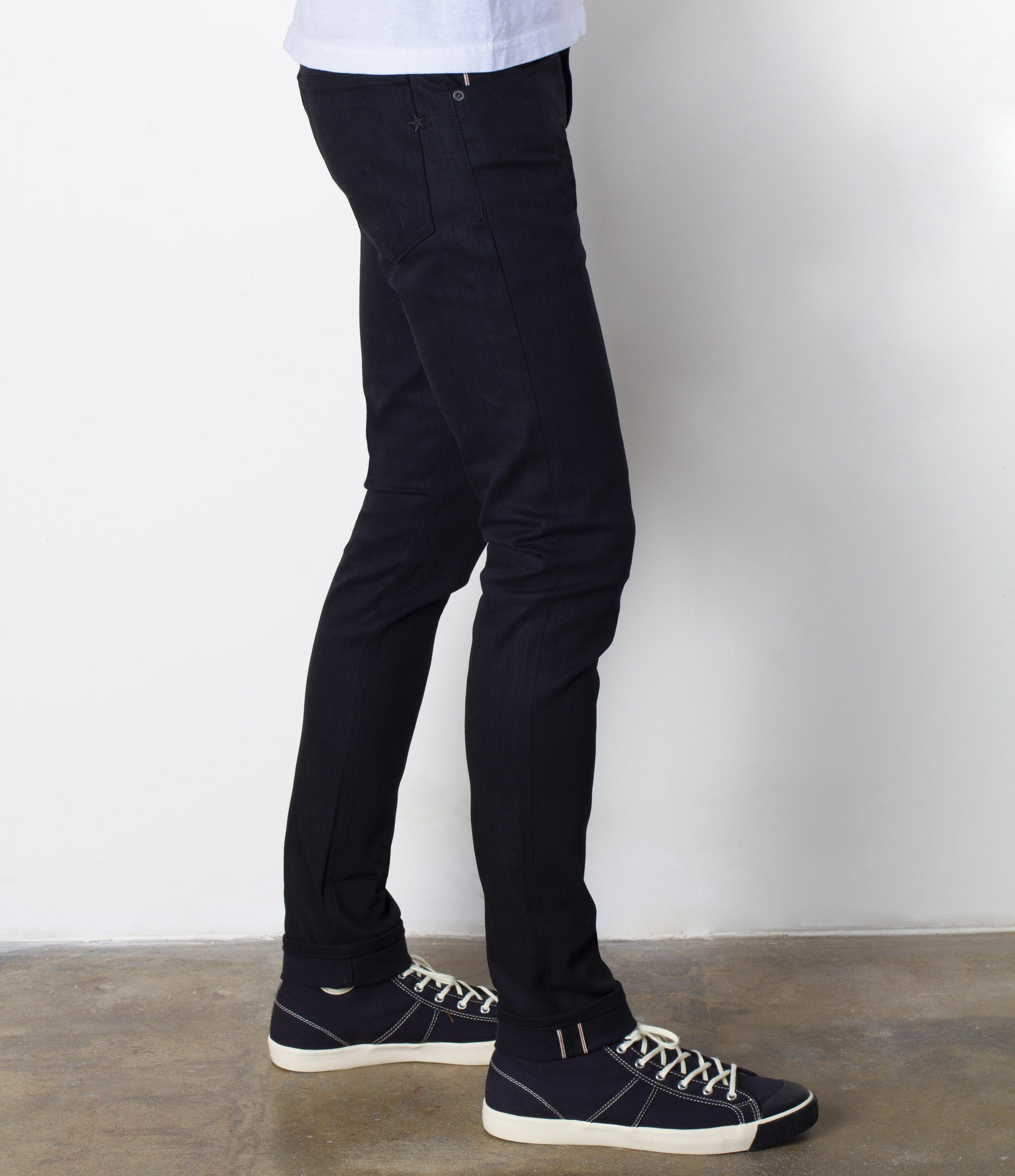 The Slim Taper 14oz Double Black Cone Mills Selvage Denim
