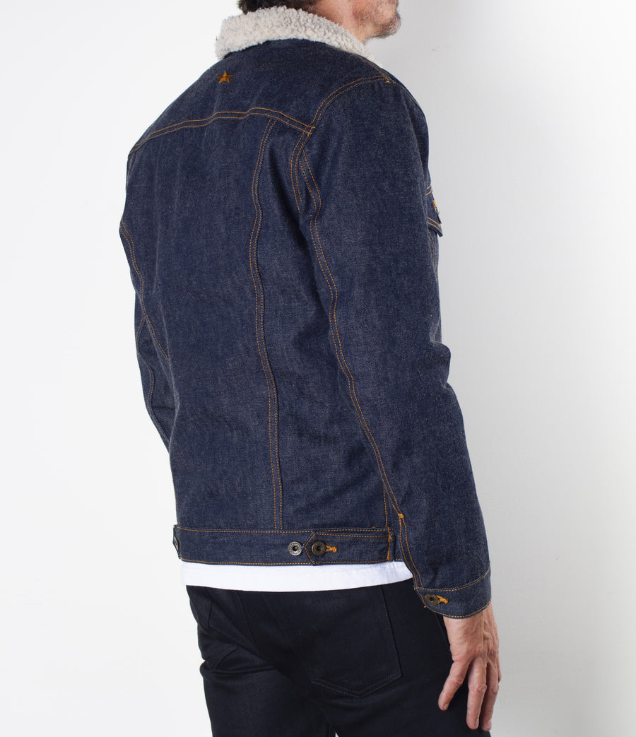 The Ironside Sherpa Fleece 14oz 'Unfinished' Cone Mills Selvage Denim Jacket