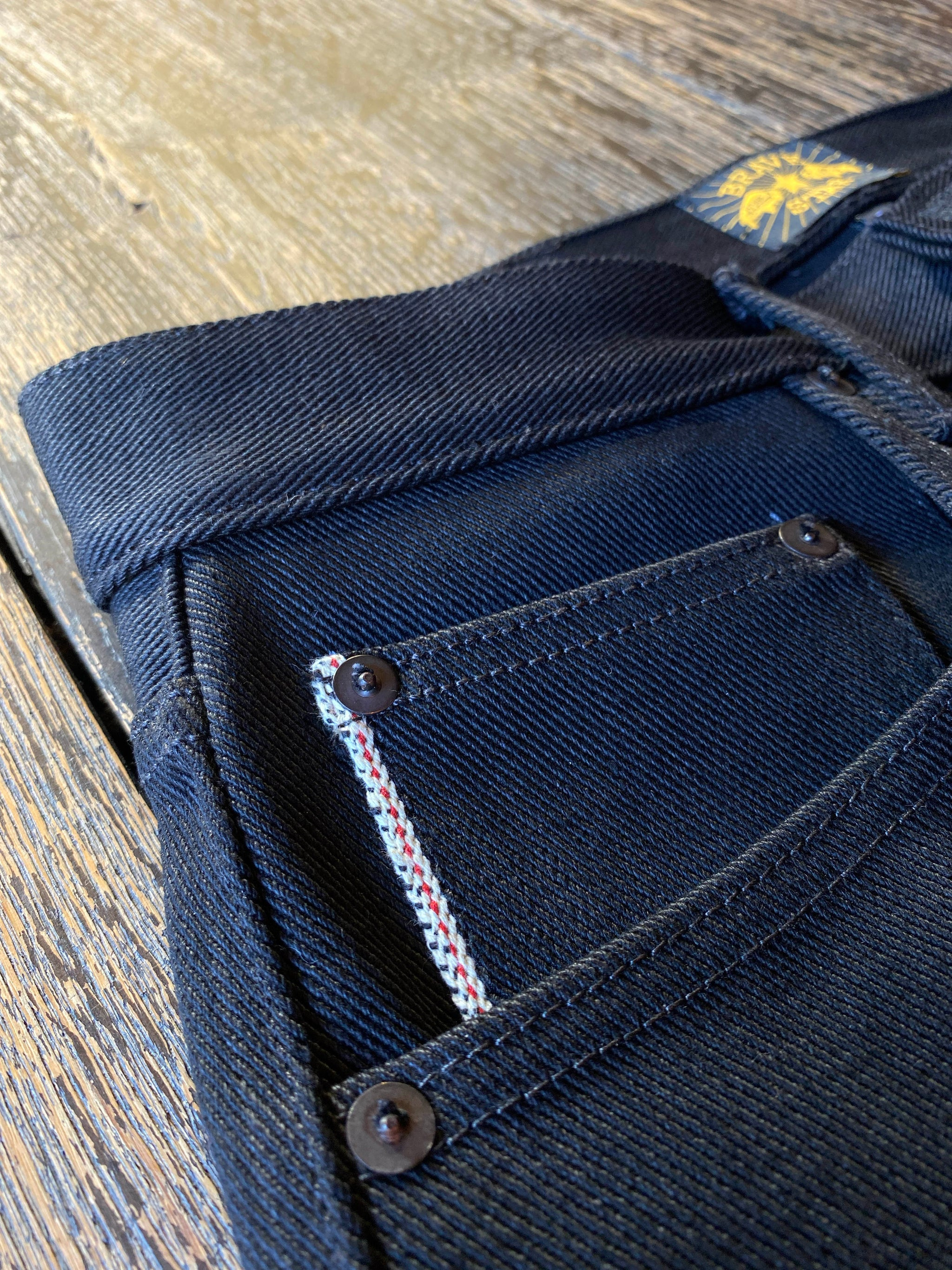 The Slim Taper 21.5oz Heavyweight Double Black Selvage Denim