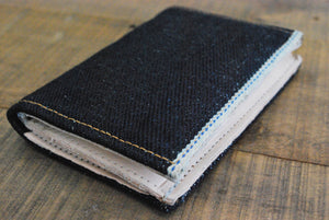 21.5oz super heavyweight selvedge denim and leather Bi-Fold wallet