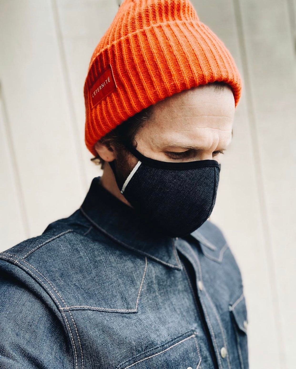 american made black denim face masks