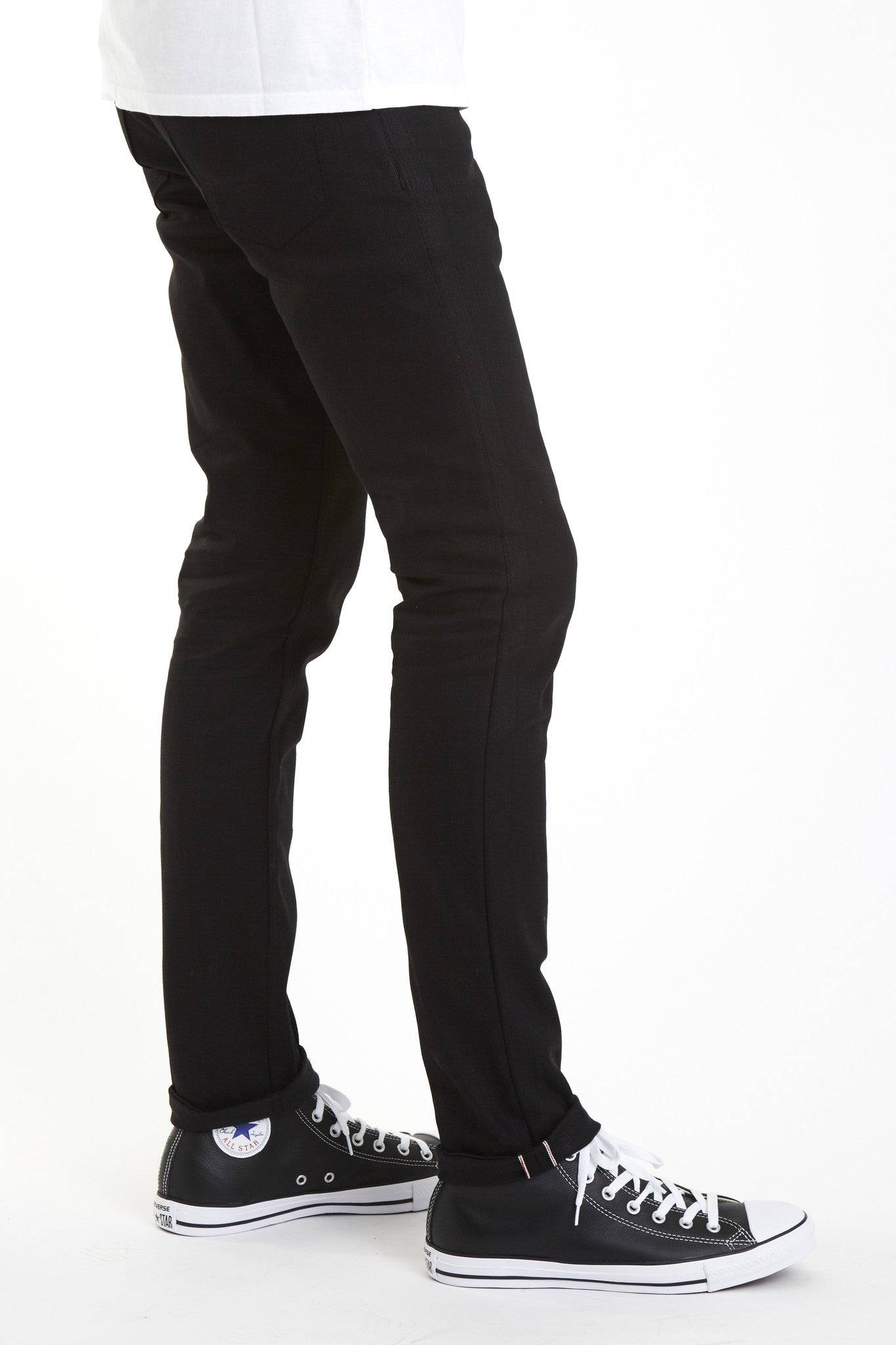 Black Affordable Japanese Skinny Selvedge Stretch denim selvage