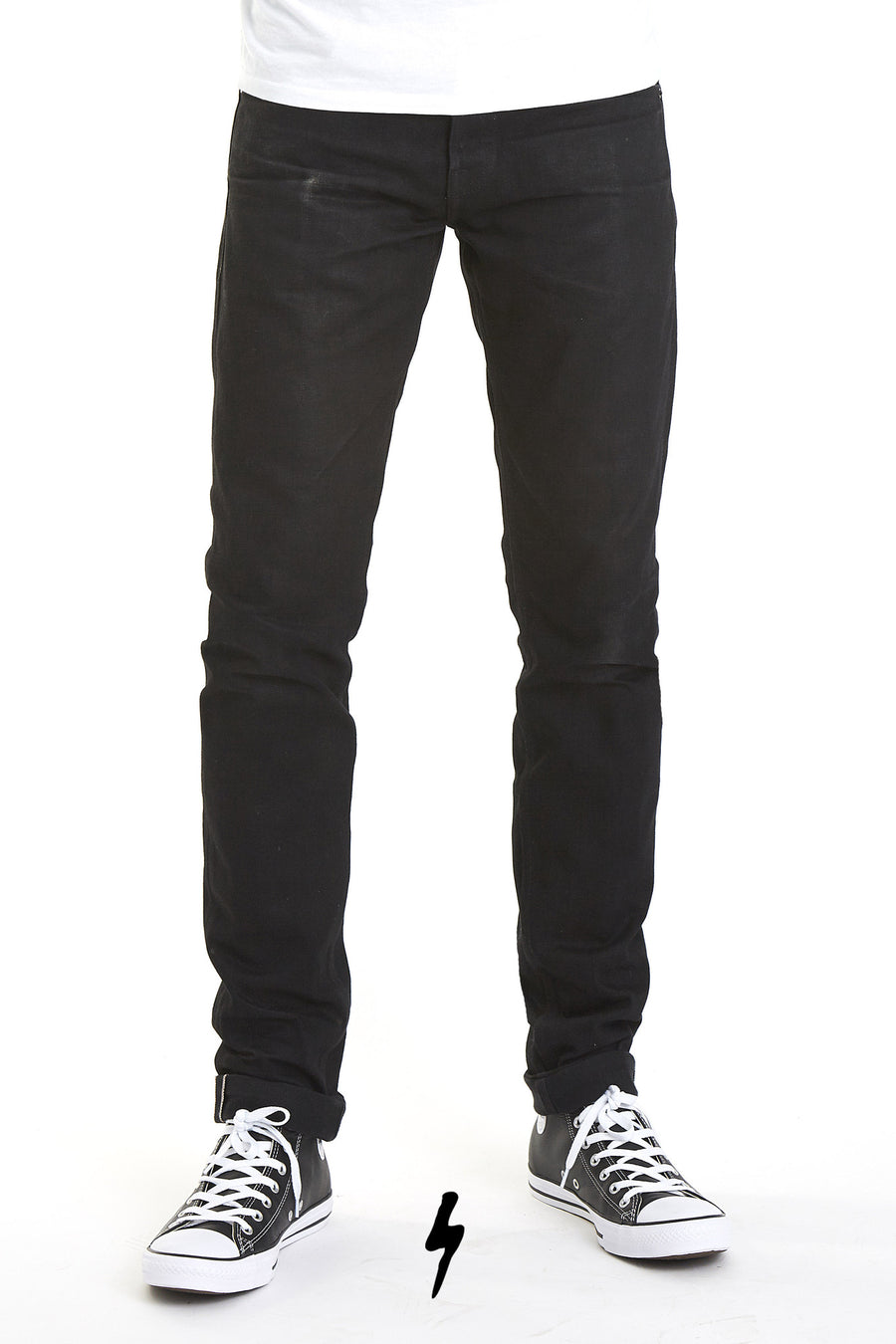 The Slim Straight 14oz Double Black Cone Mills Selvage
