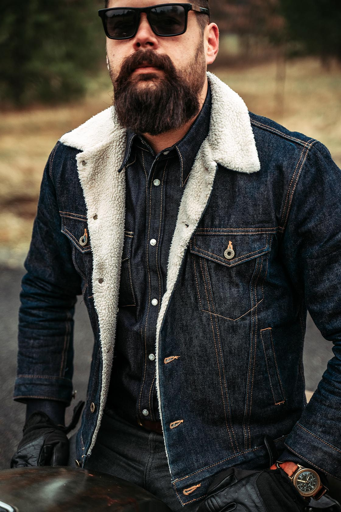 The Ironside Sherpa Fleece 13.5oz Cone Mills Selvage Denim Jacket