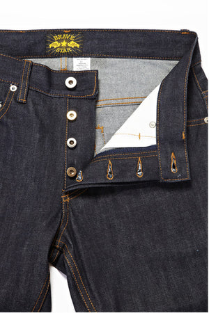BSJ104 Slim Taper Cone Mills Selvedge Button Fly Close Up