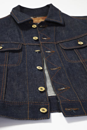 BSDJ100 SELVAGE DENIM JACKET CONE MILLS SELVEDGE FRONT BUTTON UP VIEW
