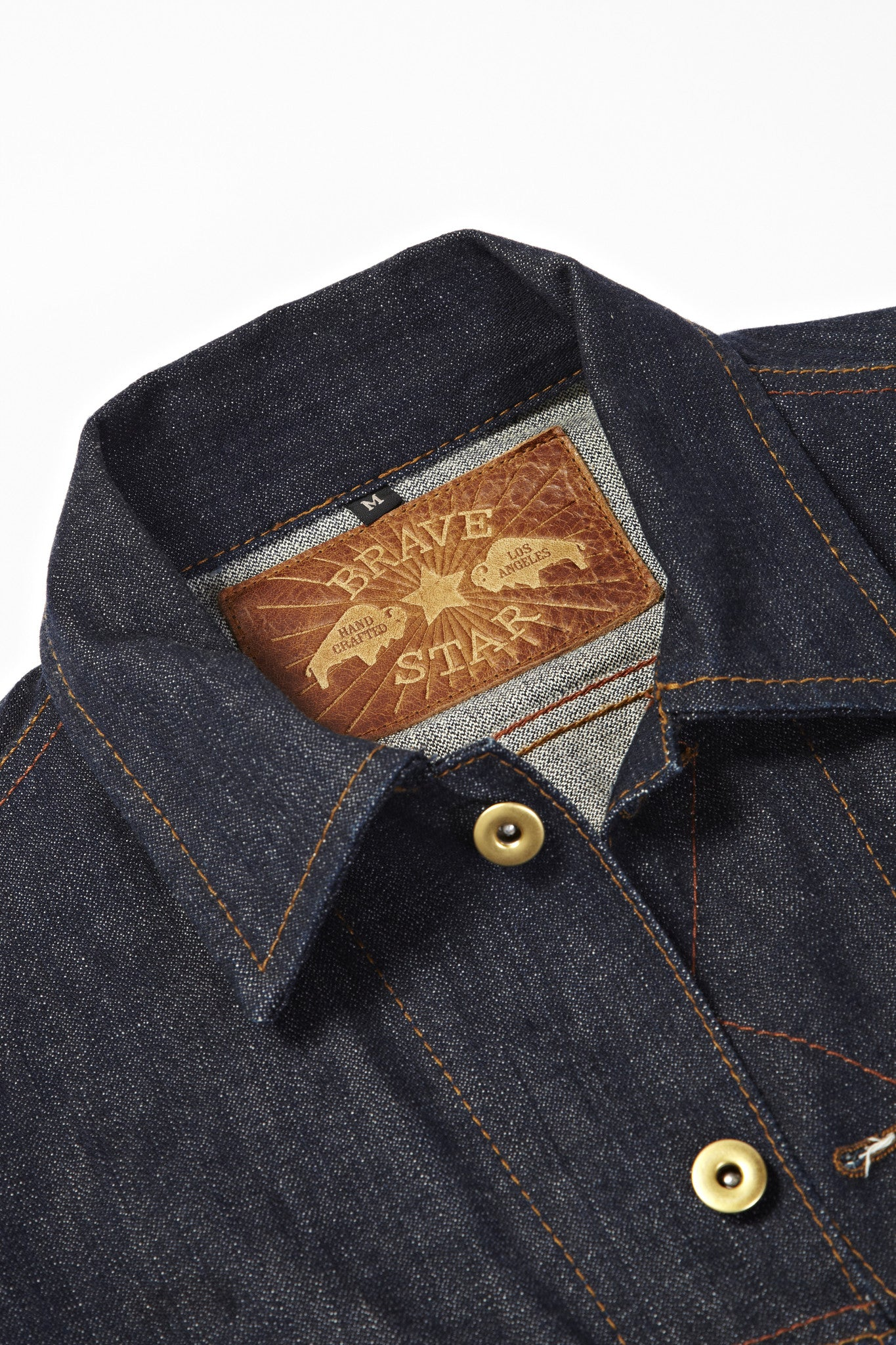 BSDJ100 SELVAGE DENIM JACKET CONE MILLS SELVEDGE FRONT VIEW COW HIDE LEATHER PATCH
