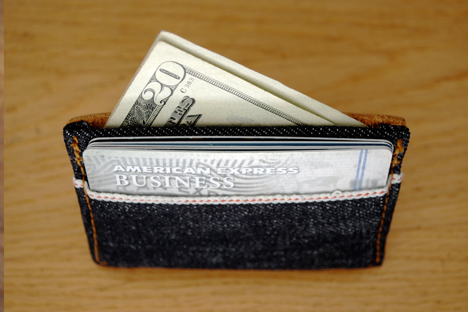 The 21.5oz Heavyweight Selvedge Denim & Leather Slim Wallet