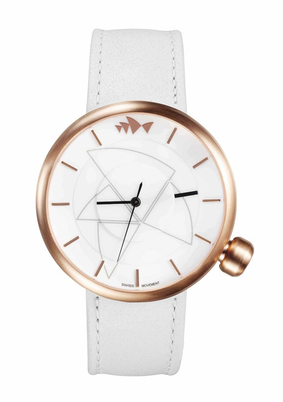 Bausele Rose Gold Watch -White