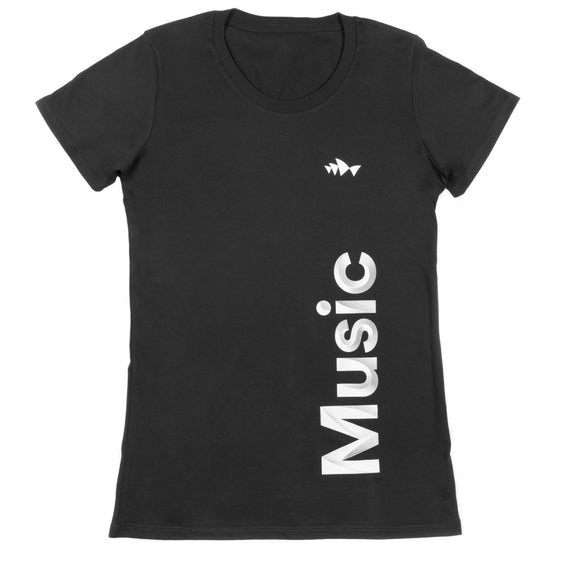 3D Font Collection Adult Women's Black Tee - Music