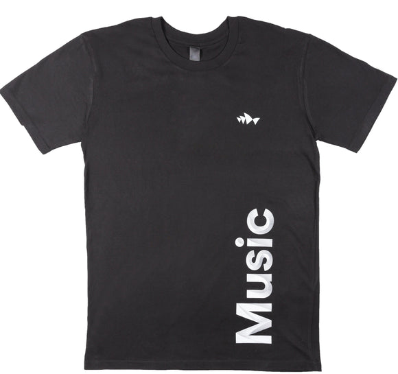 3D Font Collection Adult Men's Black Tee - Music