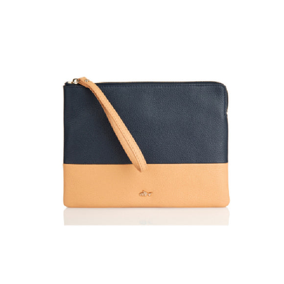 Minskat Lea Medium Clutch- Navy/Sand