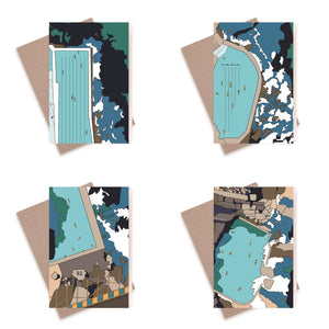 Mixed Greeting Card Pack of Four Sydney Pools
