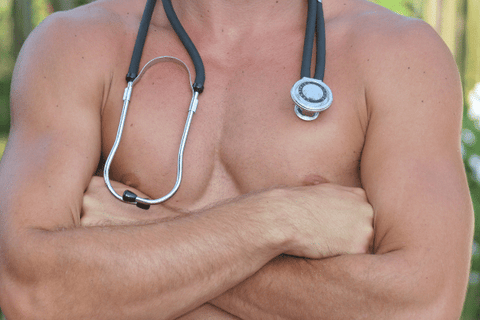 sexy topless male doctor