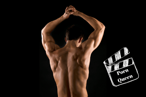 back view of topless man with phrase porn queen