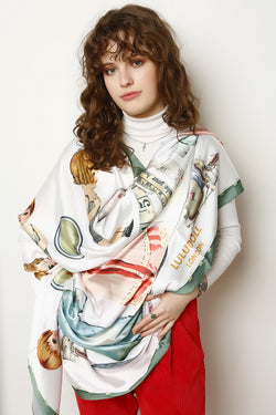 Happy Rene Signature Shield Silk Scarf