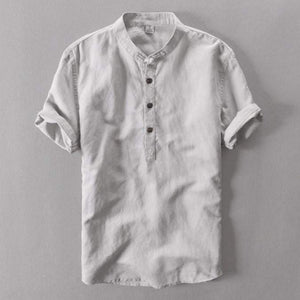 Contemporary Vintage-Collared Linen Shirt - RinmakStyle