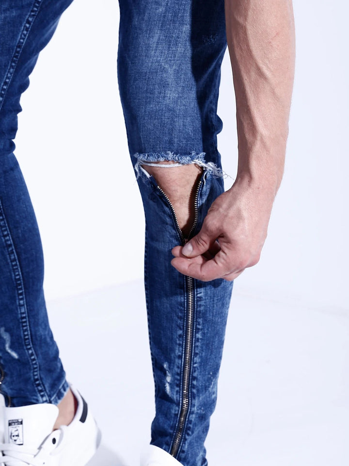Ripped Zipper Jeans (2 colors)